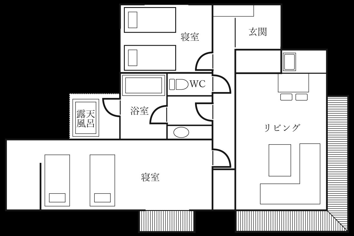 特別室【83平米】リビング+和洋室+寝室 露天風呂付きの間取り
